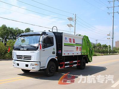 国六东风8方压缩垃圾车带三角斗图片