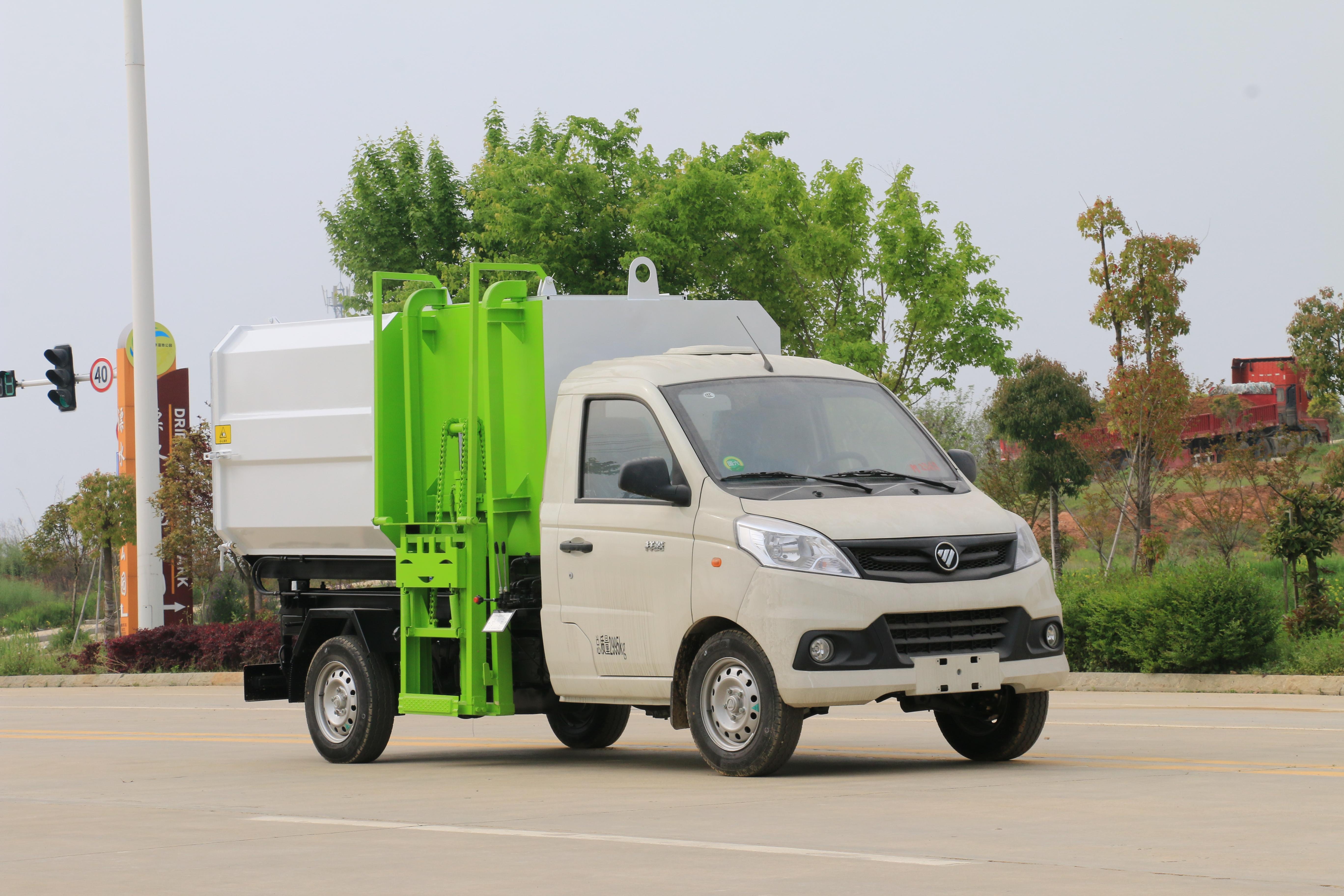 6.1力航团队发一批福田祥菱3方蓝牌挂桶垃圾车